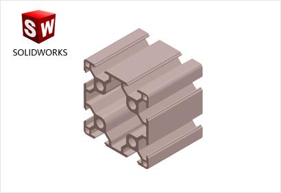 6060(双槽)工业铝型材3d模型